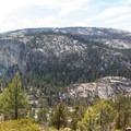 Yosemite Valley from the north rim trail.- North Dome via Yosemite Falls