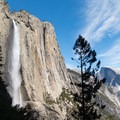The Upper Yosemite Falls Trail is one of the few places in Yosemite where you can capture Yosemite Falls and Half Dome in the same frame.- North Dome via Yosemite Falls