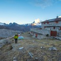 Tents can be pitched outside the refuge during the off-season.- Laguna 69 via Pisco Basecamp
