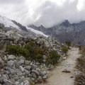 A well-traveled trail serves as the main route to Laguna 69 from the ravine.- Laguna 69 via Pisco Basecamp