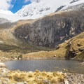 A small pond sits just below Laguna 69, serving as a good place for a rest.- Laguna 69 via Pisco Basecamp