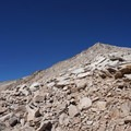 Looking up at the sea of talus on the southern slope of Mount Gould.- Kersarge Pass