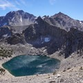 Stiff down drafts onto Big Pothole Lake. - Kersarge Pass