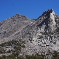 Impressive rock outcroppings near Kersarge Lakes.- Kersarge Pass