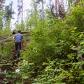 Returning on the steep and somewhat overgrown trail.- Smith River Falls