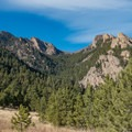 View of Shadow Canyon from slightly off-trail just before the cabin.- South Boulder Peak via Shadow Canyon