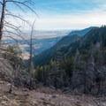 Looking south toward Pikes Peak.- South Boulder Peak via Shadow Canyon