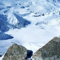 """Looking down on 14,000-foot Camp from """"The Diving Board"""" at 17,000-foot Camp (the tiny specks are tents).- Denali: West Butress"""