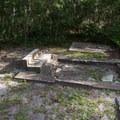 Worn gravestones.- Chapel of Ease Ruins