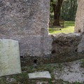 Newer gravestones that have been broken and placed upright.- Chapel of Ease Ruins