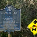 This small sign by the highway is the only information posted on site.- Chapel of Ease Ruins