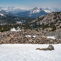 Looking back toward Mammoth Mountain, Arrowhead Lake, and Skeleton Lake.- Duck Pass via Wood Lakes + Duck Pass Trail