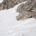 Ascending on the snow field.- Duck Pass via Wood Lakes + Duck Pass Trail