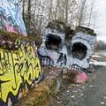 Creative graffiti along the Pend d'Oreille Trail. - Pend d'Oreille Bay Trail