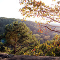 A late summer sun setting over the Buffalo River area. - Whitaker Point Trail + Hawksbill Crag