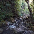 Much of the hike requires hopping along slick boulders in the streambed as you head upriver toward the falls.- Punalau Falls
