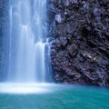 Bottom of the waterfall.- Punalau Falls