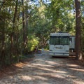 RV camping in one of the longer standard sites.- Myrtle Beach State Park Campground