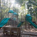 A playground in the campground. Larger playgrounds are near the beach.- Myrtle Beach State Park Campground