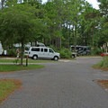 Road through the campground.- Topsail Hill Preserve State Park