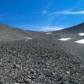 Endless scree below the ridge.- Mount Breitenbach