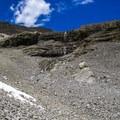 The waterfall in upper Pete Creek.- Mount Breitenbach