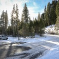 Parking is on a plowed shoulder area where Forest Road 08 meets Highway 89. - Pole Creek Snowshoe