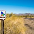 The Wildhorse Trail leaves right from the highway.- Wild Horse Trail
