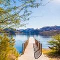 Fishing docks line the north side of the lake.- Saguaro Lake