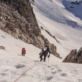 Nearing the top of the BS Col.- Bugaboo Spire via Kain Route