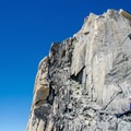 Final stretch to the summit.- Bugaboo Spire via Kain Route