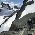 Climbing Joffre Peak.- Joffre Peak: Northeast Ridge Scramble