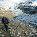 Ascending the rocky talus to the Bow Glacier just above the hut.- Saint Nicholas Peak: South Ridge