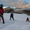 Crossing crevasses on the Bow Glacier at dawn. - Saint Nicholas Peak: South Ridge
