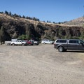 Parking at the Service Creek Boat Launch and Campground.- John Day River: Service Creek to Clarno
