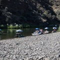 A flotilla launches at the Service Creek boat ramp.- John Day River: Service Creek to Clarno