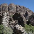 Strange and imposing basalt formations along the riverbank.- John Day River: Service Creek to Clarno