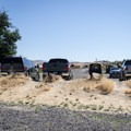 Parking at the Clarno boat ramp.- John Day River: Service Creek to Clarno