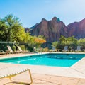 Poolside with a view of Bulldog Cliffs.- Saguaro Lake Guest Ranch