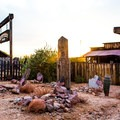 Goldfield Graveyard at sunset.- Goldfield Ghost Town