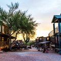 Goldfield Ghost Town at sunset.- Goldfield Ghost Town