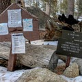 Small signs on the trail denote the campground and advise of the 10 site locations.- Emerald Lake Campground