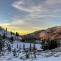 Beautiful sunset colors.- Emerald Lake Campground