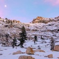 On clear evenings there can be spectacular contrasts from the snow, rock and twilight colors.- Emerald Lake Campground