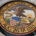 Featured inside the Illinois State Memorial is this intricate mosaic of the state's seal.- Vicksburg National Military Park