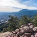 Looking south at the Flatirons from Mount Sanitas summit.- Anemone + Mount Sanitas Loop Trail