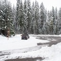 Parking area at Big Springs Sno-Park.- Lava Lake East Trail from Big Springs Sno-Park