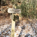 If you choose to take the upper trail to the falls, this sign will point the way.- Cascade Falls