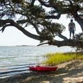 Enjoying a stop on Huggins Island.- Huggins Island Water Trail