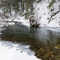 The crystal clear water of the North Fork of the Big Wood River.- North Fork Snowshoe